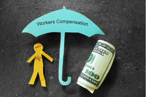 Injured paper man with money under Workers Compensation umbrella, workers' compensation benefits in Charlotte