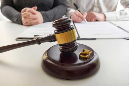 Husband and wife sign divorce papers, Gastonia family law attorney concept