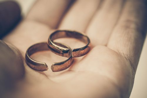 This is an image of two broken rings as a concept of divorce with a Gastonia divorce lawyer